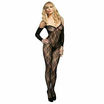 £9.99 • Buy Leg Avenue Floral Lace Bodystocking & Attached Sleeves 8-14 Sexy Lingerie Uk