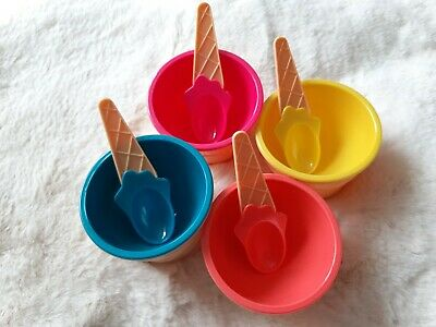£8.99 • Buy Set Of 4 Pastel Ice Cream Cone Bowls And Spoons Set
