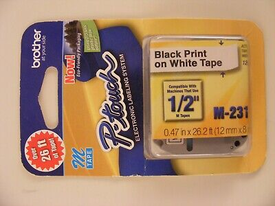 $6.99 • Buy 1 - Brother P-Touch M-Tape 1/2 Inch - BLACK On WHITE --  M-231