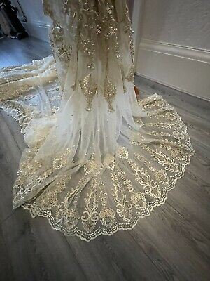 """$11.03 • Buy 1M Ivory Cream  Gold Embroided Pearl Beaded Scalloped Bridal Lace Fabric 44"""""""