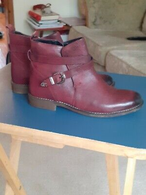 £10 • Buy Ladies Leather Ankle Boots By Shuropody Size 5 Burgundy Red