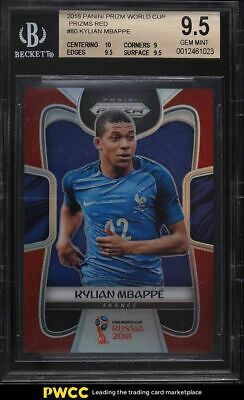 $ CDN1028 • Buy 2018 Panini Prizm World Cup Red Prizms Kylian Mbappe ROOKIE RC /149 #80 BGS 9.5