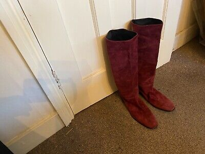 £50 • Buy Russel & Bromley Knee High Burgundy Suede Boots Made In Itsly Size 41 Flat Soles