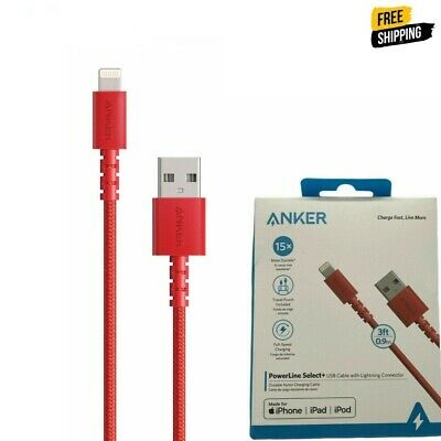 AU11.34 • Buy New Anker Powerline Select + USB Cable With Lightning Connector 3 Ft Red