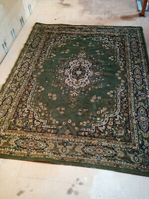 £40 • Buy ANTIQUE LARGE GREEN FLORAL WILTON RUG 7FT 5 INCH X 5FT 7 INCH VERY GOOD FOR AGE