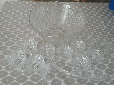 £10 • Buy 1970's Retro Cut Glass Punch Bowl And 10 Cups + Ladle