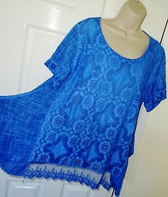 £4.90 • Buy Womens🦋MADE IN ITALY🦋blue Lace Detail Oversized Longline Top Tunic Size 18/20