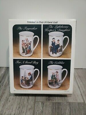 $ CDN35.21 • Buy Set Of 4 Vintage Norman Rockwell Gold Trim Mug Cup Museum Collection 1982