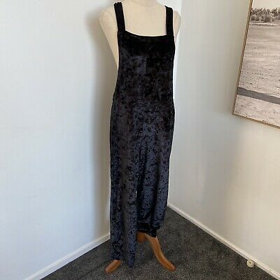 AU22 • Buy Urban Outfitters Ladies Small Playsuit Jumpsuit Dungarees Velvet Goth Black
