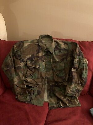 $25 • Buy Vintage M-65 Field Jacket In Woodland Camo, Sz M Short, W/ US Army Patches!