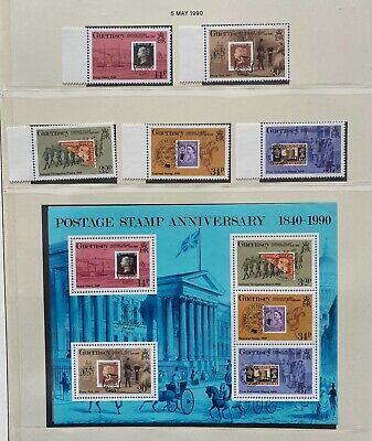 £4.50 • Buy GUERNSEY 1990 POSTAGE STAMP ANNIVERSARY SET OF 5 + Miniature Sheet