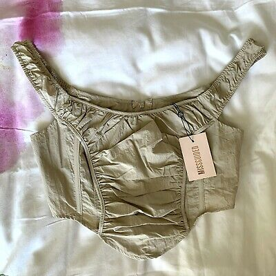 £5 • Buy Missguided Corset Top Ruched Beige Size 12 BNWT Zip Up