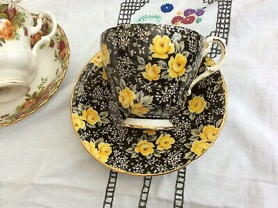 £3.20 • Buy Unusual Paragon Bone China Cup And Saucer Yellow Roses On Black Background