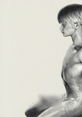 £8.60 • Buy Ltd 1/5 Pigment Print Drawing Nude Sitting Male Gay Interest By Etienne Benassi