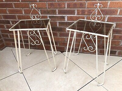 £125 • Buy Wrought Iron Bedside Tables, Metal And Glass Mid Century Bedside Tables