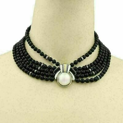 $2150 • Buy Cartier Vintage Mabe Pearl 18k Gold Sterling 5 Strand Onyx Bead Choker Necklace