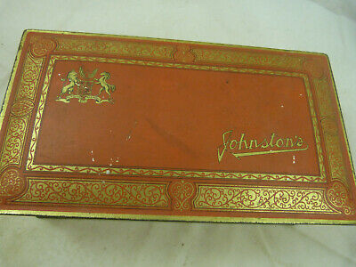 £24.46 • Buy Vintage Antique Johnston's Candy Chocolate Cavalier Tin Box Orange Gold Canister