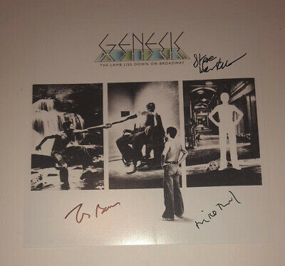 £79.99 • Buy Signed Genesis The Lamb Lies Down On Broadway Photo Hackett Banks Rutherford