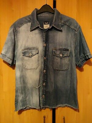£12.50 • Buy Dolce And Gabbana Made In Italy Short Sleeve Distressed Denim Shirt Mens L