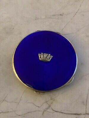 £65 • Buy 1932 Royal Navy Art Deco Sweetheart Compact, 97g Solid Silver & Guilloche Enamel