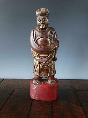 £1.63 • Buy Large Chinese Gilt Lacquered Wood Figure Of A Scholar Carved Qing Antique 19th