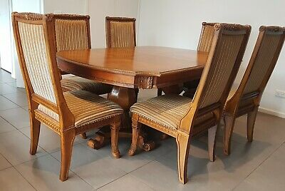 AU143 • Buy Crafted Timber Dining Table (with 2 Extension Leaves) And 8 Upholstered Chairs