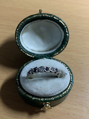 £9.99 • Buy Vintage 925 Silver Black And Clear Spinel Band Ring Size L