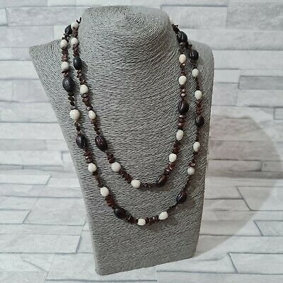 £3.90 • Buy Bohemian Beaded Necklace Brown/Grey Real Seeds Beads Costume Jewellery Tribal