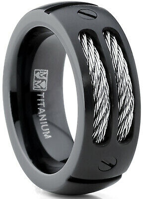 $18.99 • Buy 8MM Men's Black Titanium Ring Wedding Band With Stainless Steel Cables