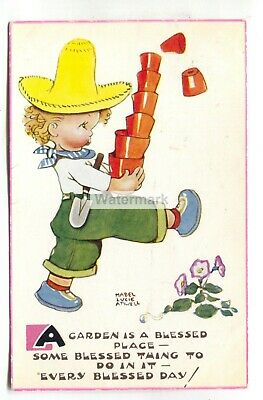 $2.75 • Buy Mabel Lucie Attwell Postcard No. 5507 -  A Garden Is A Blessed Place...  - 1950s