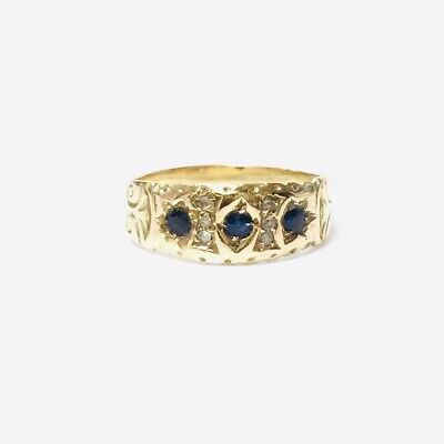 £145 • Buy VINTAGE 9ct Gold Sapphire & Spinel Victorian-Style Gypsy Ring UK Size  L  2.4g