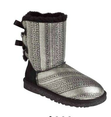 £89.99 • Buy UGG Bailey Bow II Sheepskin Silver/black Suede Booties Pull On BootsUK5 RRP £150