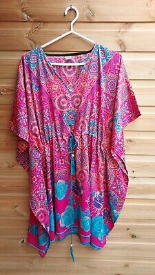 AU3.67 • Buy Pink & Blue Silky Floral Summer Kaftan Beach Cover Up Dress One Size 16-24