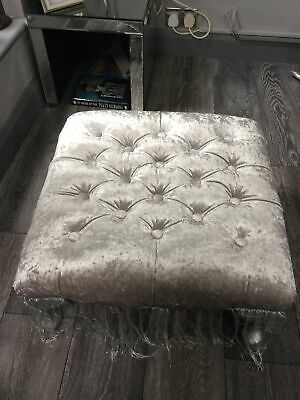 £19.99 • Buy Chesterfield Cube Footstool Crushed Grey Velvet Queen Anne Style Legs