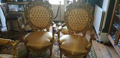 £600 • Buy Grand Pair Arm Chairs Louis Baroque Gilt Gold Rococo French Style VGC