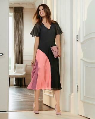 £29.95 • Buy TOGETHER LADIES PLEAT SKIRT DRESS BLACK / PINK SIZE 20 NEW (ref 579)