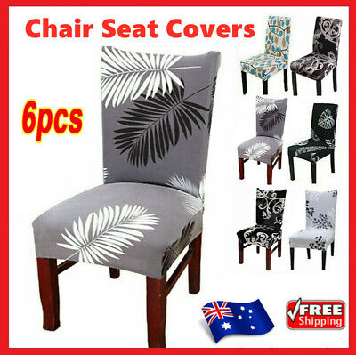 AU20.99 • Buy 6PCS Dining Chair Seat Covers Slip Stretch Wedding Banquet Party Removable