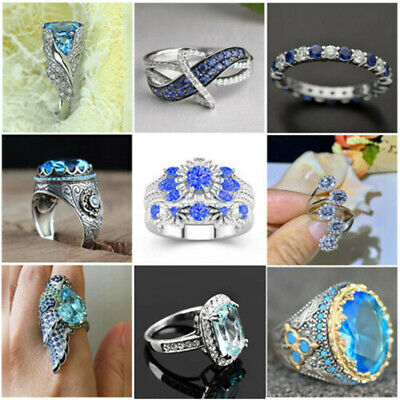 £2.31 • Buy Gorgeous 925 Silver Rings Women Jewelry Blue Sapphire Wedding Ring Size 5-13