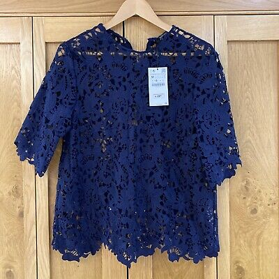 AU18.45 • Buy Zara Navy Lace Top- Size M- New With Tags