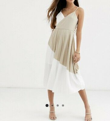 £1.70 • Buy River Island Strappy Dress With Pleated Skirt. White & Beige. Size 10