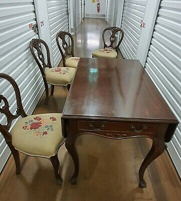 AU300 • Buy Antique Victorian Tea Table With Four Matching Chairs