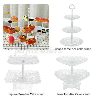 £7.79 • Buy 3 Layer Dessert Cup Cake Stand Plate Afternoon Tea Party Wedding Tableware Plate