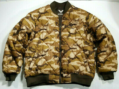 $49.99 • Buy Avirex MA-1 Flight Jacket Brown Bomber Camo Reversible Embroidered Wings M VG