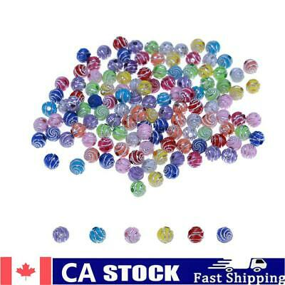 $ CDN9.43 • Buy 300pcs 8mm Loose Spiral Round Acrylic Beads For Needlework Supplies