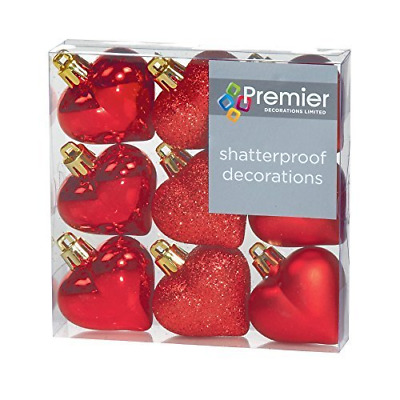 $6.31 • Buy Christmas Decorations 9 Pack 40mm Multi Finish Heart Baubles - Red