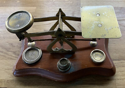 £13.50 • Buy Antique English Brass Wood Post Office Letter Weighing Scales Warranted Accurate