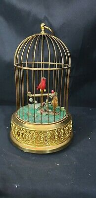 £500.20 • Buy West Germany 2 Bird's In Cage Music Box Automaton Mechanical With Real Feathers!