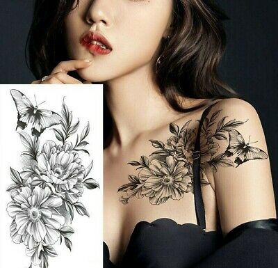 £2.99 • Buy  Womens Butterfly & Flowers Temporary Tattoo Fake Sticker Arm Leg Thigh Chest