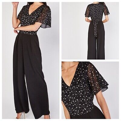 £14.99 • Buy Ladies Black Jumpsuit Size 18 Silver Stars Sparkly Stretchy Trousers NEW NWOT 🌹