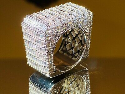 $44.99 • Buy Men's Iced Baguette Square Big Pinky RING White Gold Finish ICY Pinkie Size 6-10